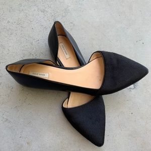 Cole Haan Suede Black Flats Pointed